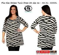 LADIES CURVE PLUS SIZE 16-20 STRIPES SHIFT DRESS SKATER PARTY TUNIC TOP BLOUSE