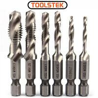 "6PCS/Set M3-M10 Metric Composite Tap Drills 1/4"" Hex Shank Drill Bit HSS Screw"