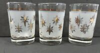 Set of 3 Vintage Frosted Small Glass Tumblers with Gold Stars Starburst Pattern
