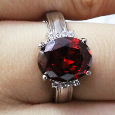 Sparkling Oval Red Ruby Ring Women Engagement Jewelry 14K White Gold Plate