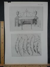 Rare Antique Original VTG Ornate Relief Design Desk Engraving Art Print