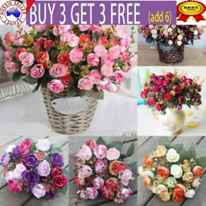 21 Head Artificial Fake Silk Rose Flower Floral Bouquet Wedding Home Decoration