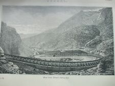 ANTIQUE PRINT DATED C1870'S TUNNEL ENGRAVING MONT CENIS TUNNEL SAVOY END FRANCE