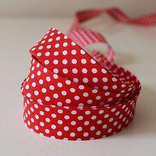 3 M X White Polka Dot on Red Fabric Bias Binding 18mm Wide