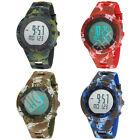 Men's Camouflage Sport LED Digital Alarm Big Face Date Analog Quartz Wrist Watch