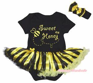 Sweet Honey Black Cotton Bodysuit Black Yellow Striped Baby Dress Set NB-18M