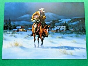 Leanin' Tree Christmas Card - Cowboy On Horse With Christmas Gifts Theme - ID614