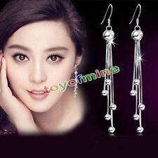 925 Sterling Silver Long Drop Dangle Tassel Earrings Ear Stud Women Jewelry