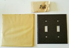4 Vintage Toggle Switch Plate Two Gang Brown Steel NOS Faceplate