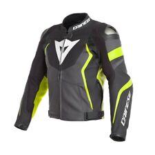 Giacca pelle moto Dainese Avro 4 pelle nero giallo black yellow leather jacket