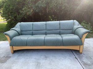 Ekornes Stressless 3-Seat OSLO Mid-Century Modern Leather Fixed Back Sofa Green