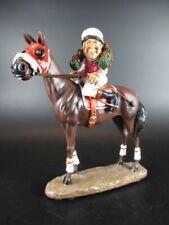 Jockey Pferd Galopper mit Siegerkranz Horse Figur Reitsport Galoppsport 19 cm