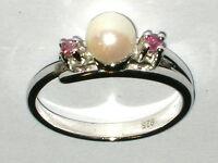 Ring Rubin Perle massiv Silber Sterling 925  Ø 18mm