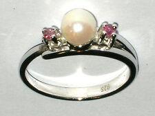 Anillo rubin perla masivamente plata Sterling 925 Ø 18mm