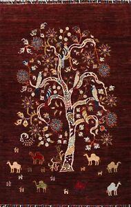 Vegetable Dye Pictorial Tree Animal Design Tebriz Handmade Oriental Area Rug 3x5