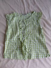 Next Girls Green Checked 100%Cotton Ruffle Sleeve Top Size 7 Years
