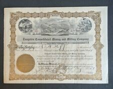 1907 Washington Tungsten Consolidated Mining and Milling Co. Stock Certificate
