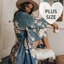 2X PLUS SIZE New Floral Kimono Long Duster Blue Jacket Cardigan Top Womens XXL