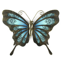 Metal & Glass Butterfly Wall Decor hanging sculpture for patio, porch