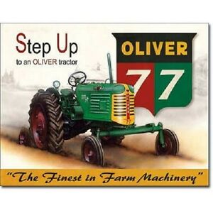 Oliver 77 Step Up Tractor Farming Farm Equipment  Retro Vintage Metal Tin Sign