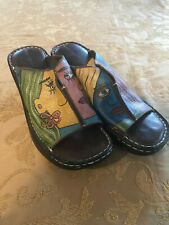 Vintage Naturalizer Open Toe Painted Leather Clogs or Sandals Size 8