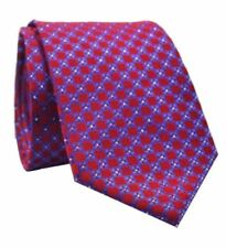 GIFTS FOR MEN Classic Mens Sparkly Floral Flower Check Silk Necktie Tie Red Blue