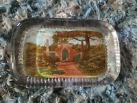 Vintage Hand Painted Square Glass Paper Weight - Spanish Theme - Great Color