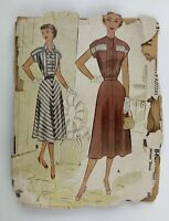 "1950's Vintage Sewing Pattern McCall 8407 Misses Dress Bust 30"" circa 1951"
