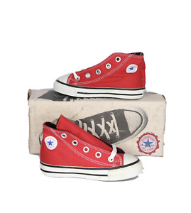 NOS Vintage 90s Converse Toddler Small Star Hi Sneakers Shoes Red Toddler Size 7