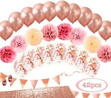MintieJamie Rose Gold Party Decoration, Event Decor with balloons, Pompom etc