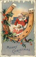 Christmas - Santa Claus Chimney Horseshoe Border #418 c1910 Postcard