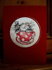 "Completed Cross Stitch BirthdayCard 8""x6"" Margaret Sherry Cat in a Tea Red Cup"