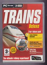 Trains Deluxe 3-in -1  Pack PC DVD ROM ~ Railway Simulator / Model Railway & DVD