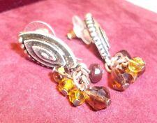 CHICO'S Earrings signed pierced black & silver swirl top W/gold brown dangle NEW