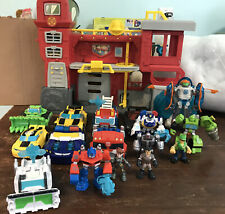 Lot of Transformers Rescue Bots Playskool Heroes Playset And Figures Optimus