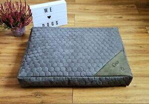 Grey Personalised Dog Bed - Luxury Orthopaedic Memory Foam - Machine Washable