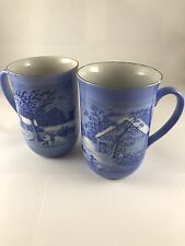 CURRIER AND IVES The Old Homestead In Winter Coffee Cup Cobalt Blue Tea Mugs