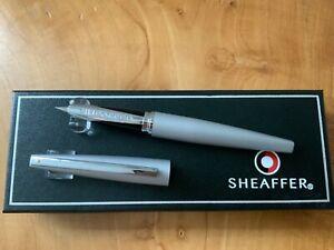 Sheaffer Taranis 9444 Chrome Fountain Pen RRP £99 Broad (New) Free UK Post