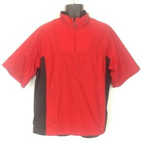 Nike Golf Mens Large Red/Black Storm Fit S/S 1/4 Zip Pullover Windbreaker Jacket