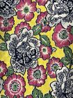 Vintage Feed Sack Fabric Bold Floral Pattern on Bright Yellow One Half Sack