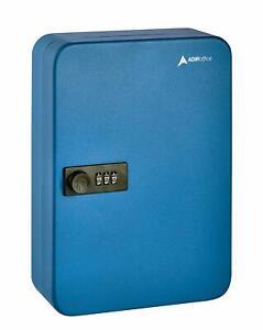 AdirOffice Blue Steel 48 Key Secure Cabinet Combination Lock Key Storage Box