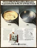 1972 General Electric GE Potscrubber Dishwasher Print Ad Guaranteed to Do This