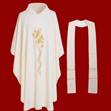 Catholic Church Vestments Priests Chasuble Embroidered Fish Cross With Stole