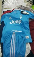 RONALDO KIDS CR7 THIRD BLUE JUVENTU KIDS JERSEY SHIRT & SHORTS-FREE UK DELIVERY