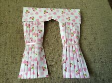 Pretty 1/12 Scale Dolls House Curtains - Hearts & Cherries