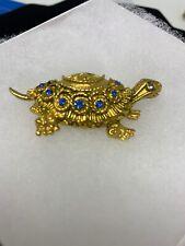 Vintage Signed Florenza Rhinestone Turtle Brooch Gold Tone