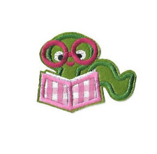 Bookworm - Book Lover - Reading - School - Embroidered Iron On Applique Patch