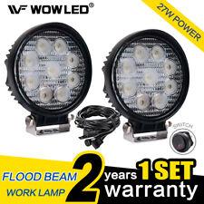 WOW - 2 X 27W Round LED Work Light Lamp Offroad Floodlight Truck 4X4 + Wiring
