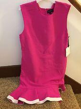 NWT Victoria Beckham For Target Fuchsia Twill Ruffle Hem Dress SZ XS