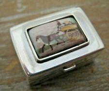 English Hallmarked Sterling Silver & Enamel Horse & Cart Box / Vinaigrette